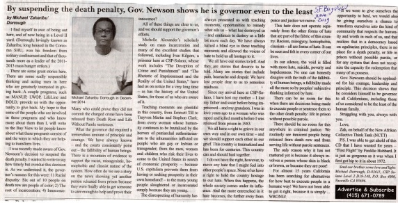 SF Bayview newspaper cutting of June 2019 of Michael's article on Gov Newsome's decision about the death penalty